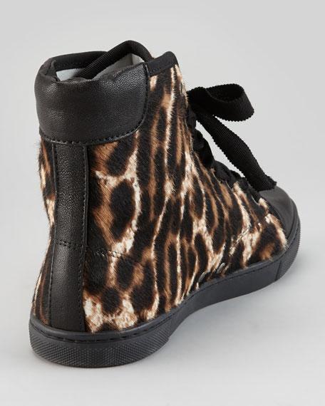 Leopard-Print Calf Hair Hi-Top Sneaker