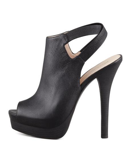 Crissy Slingback Leather Platform Bootie, Black