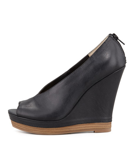 Storytelling Peep-Toe Leather Wedge