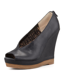 Seychelles Storytelling Peep-Toe Leather Wedge