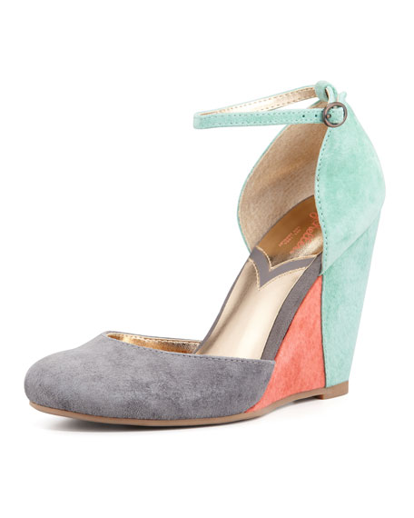 Fight Fire With Fire Colorblock Suede Wedge, Gray