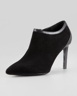 Saint Laurent Pointed-Toe Calf-Trim Suede Bootie, Black