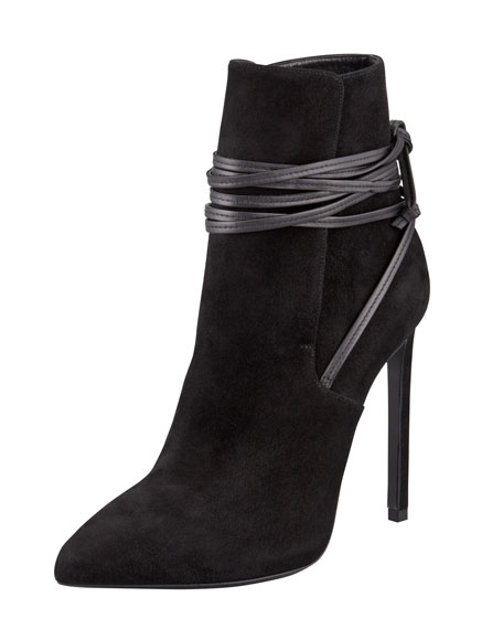 Point-Toe Leather-Wrap Suede Ankle Boot, Black