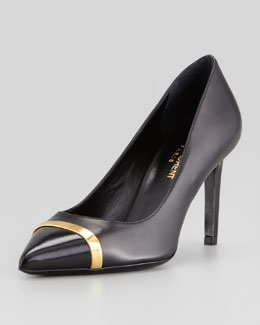 Saint Laurent Pointed Metal Cap-Toe Pump, Black