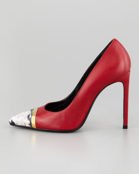 Pointed-Toe Python-Cap Pump, Red