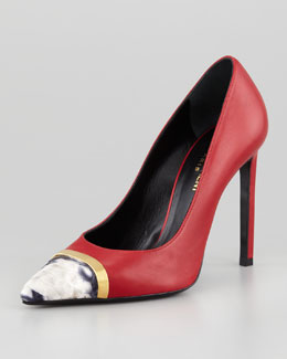 Saint Laurent Pointed-Toe Python-Cap Pump, Red