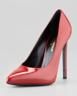 Saint Laurent Pointed-Toe Patent Leather Pump, Claret Red