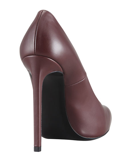 Pointed-Toe Calfskin Pump, Dark Red