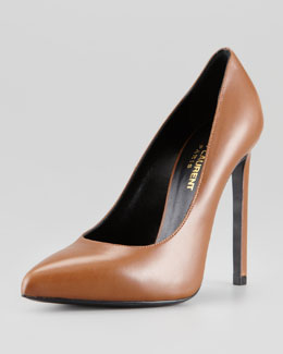 Saint Laurent Pointed-Toe Calfskin Pump, Noisette