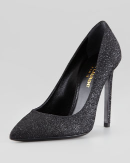 Saint Laurent Wolf Pointed-Toe Glitter Pump, Black/Silver