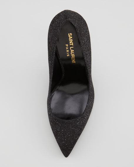 Paris Pointed-Toe Glitter Pump, Black/Silver