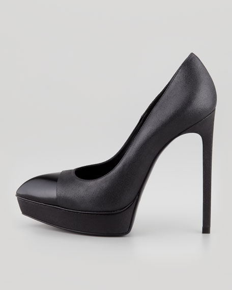 Janis Cap-Toe Platform Pump, Black Metallic