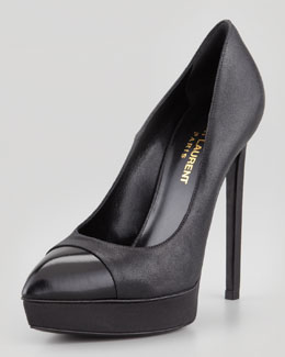 Saint Laurent Janis Cap-Toe Platform Pump, Black Metallic