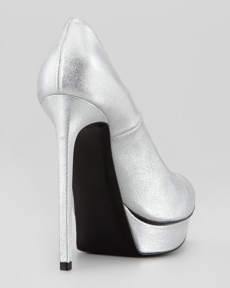Cap-Toe Metallic Platform Pump, Silver/Black