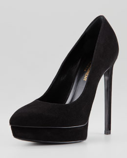 Saint Laurent Suede Point-Toe Platform Pump, Noir
