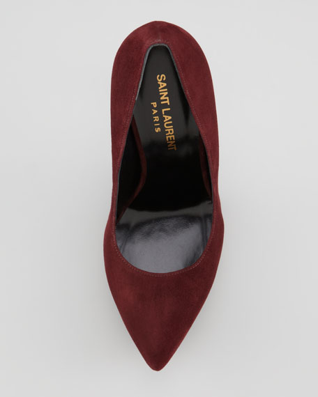 Suede Pointed-Toe Platform Pump, Bordeaux