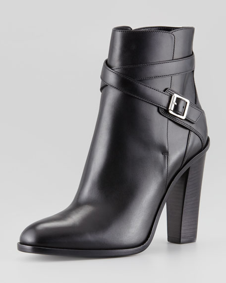 Jodhpur Wood-Heel Ankle-Wrap Bootie, Black