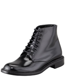 Saint Laurent Master Lace-Up Combat Boot, Black