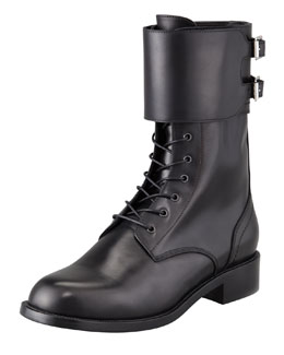 Saint Laurent Lace-Up Double-Buckle Combat Boot