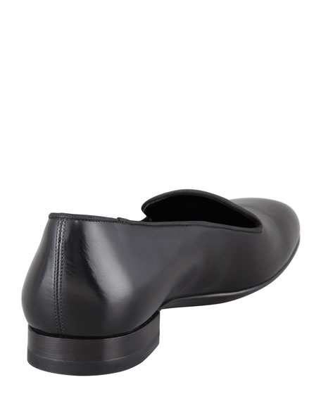 Saint Laurent Silky Leather Smoking Slipper