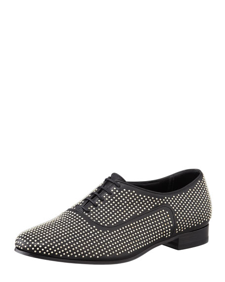 Studded Lace-Up Leather Oxford, Black
