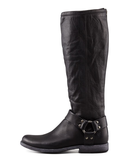 Philip Harness Extended Calf Boot, Black