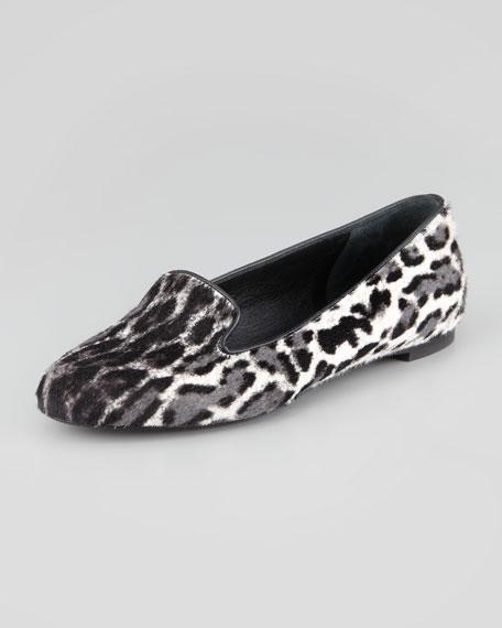 Leopard-Print Calf Hair Smoking Slipper, Black/White