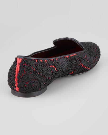 Passementerie Suede Smoking Slipper, Black/Red