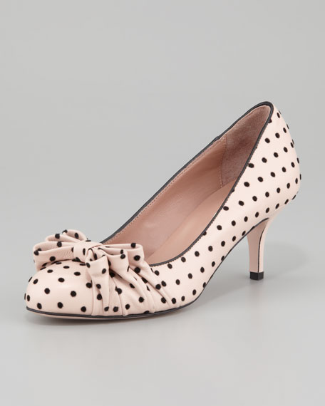 Polka-Dot Bow Pump, Cream/Black