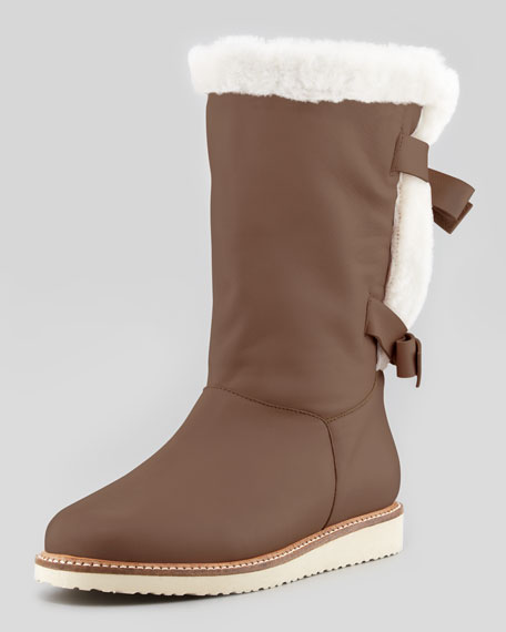 Leather Bow-Back Sherpa Boot, Camel