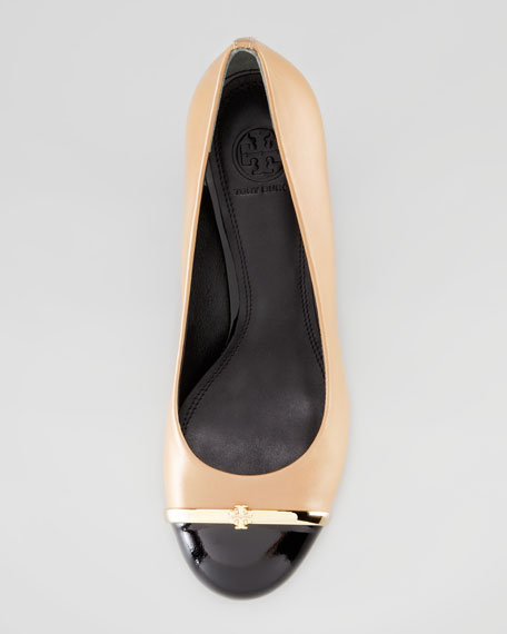 Pacey Cap-Toe Wedge Pump, Beige