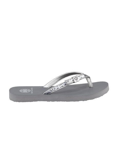 Carey Glitter Flip-Flop, Pewter