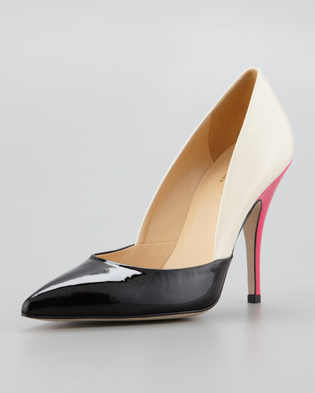 lottie colorblock patent leather pump, black/cream/pink