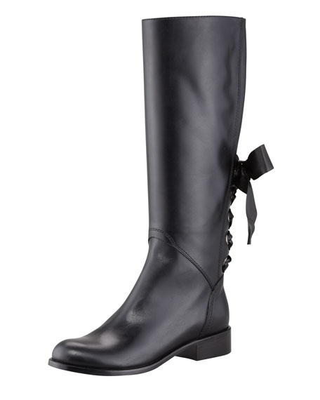 Ascot Ribbon Lace-Up Riding Boot, Black