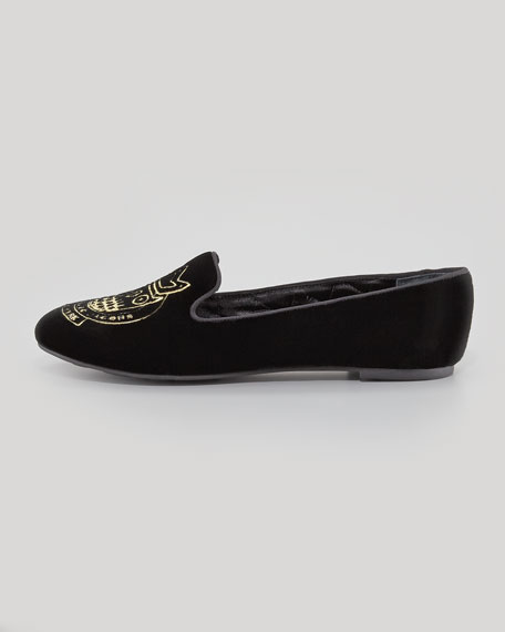 Velvet Owl Smoking Slipper, Black/Gold