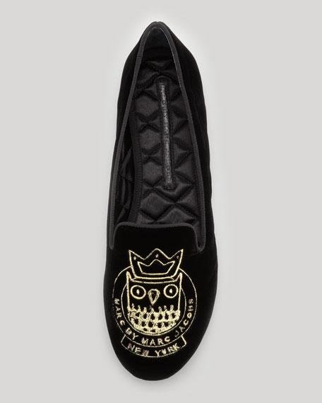 Velvet Owl Smoking Slipper, Black/Gold