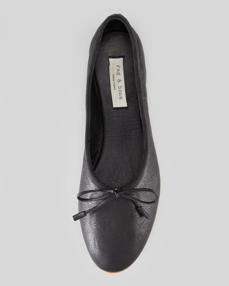 Windsor High-Rise Leather Ballet Flat, Black