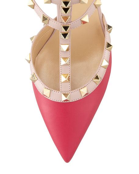 Valentino Rockstud Two-Tone T-Strap Pump, Pink