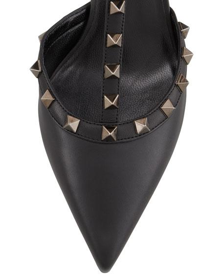 Noir Rockstud Leather Sling Back