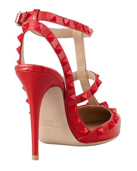 0641b42cf041 Valentino Rockstud Patent Slingback Sandal