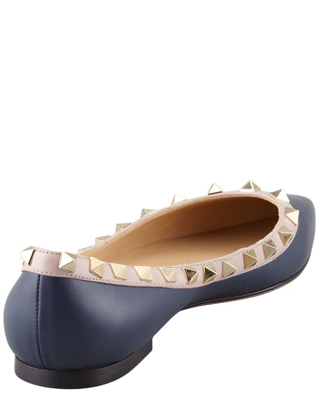 Rockstud Leather Ballerina Flat, Dark Blue