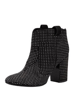 Laurence Dacade Pete Studded Suede Ankle Boot, Black/Silver