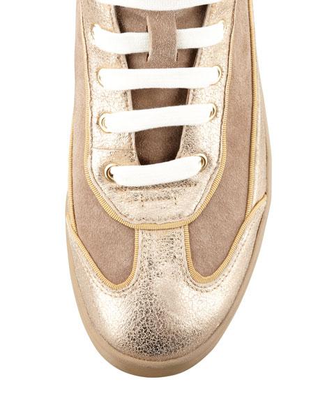Evelin High-Top Metallic Sneaker, Sahara Beige