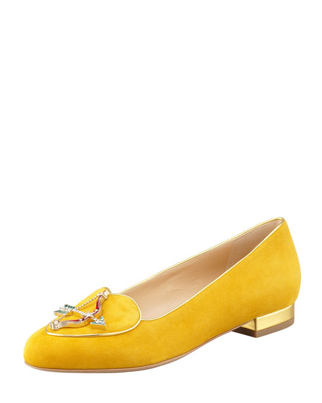 Birthday Sagittarius Zodiac Suede Smoking Slipper, Mustard