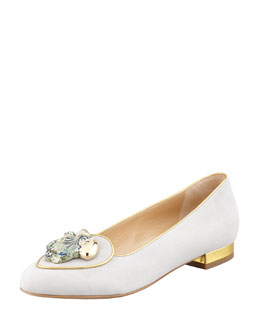 Charlotte Olympia Birthday Aquarius Zodiac Suede Smoking Slipper, Stone