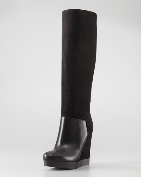 Vivian Leather & Nubuck Wedge Knee Boot, Black