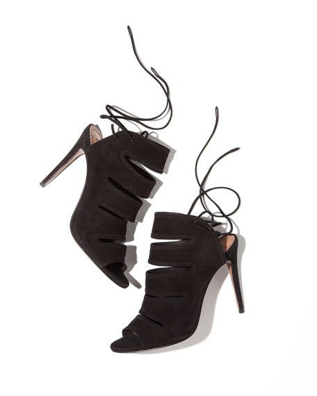 Slone Slit-Front Suede Bootie, Black