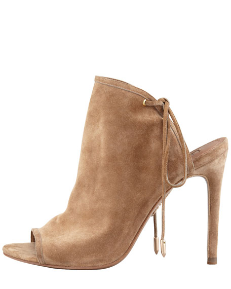 Mayfair Lace-Up Suede Bootie, Nude