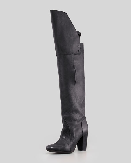 Ora Runway Over-the-Knee Buckle-Back Boot, Black