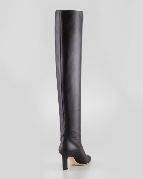 Leather Almond-Toe Over-the-Knee Boot, Black